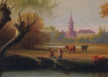 Bildausschnitt Georg Höhn 'Schloss und Kirche nebst See zu Kühnau' (um 1840), © by Anhalt Edition Dessau