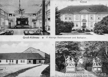 Postkarte von Grosskühnau mit Kitzings Ballhaus, Schloß und Parkeingang.jpg
